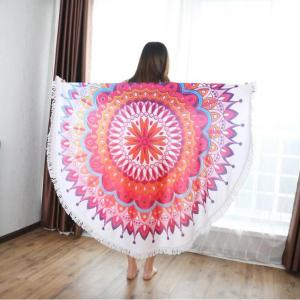 2020 Amazon hot sale printed microfiber round beach towel