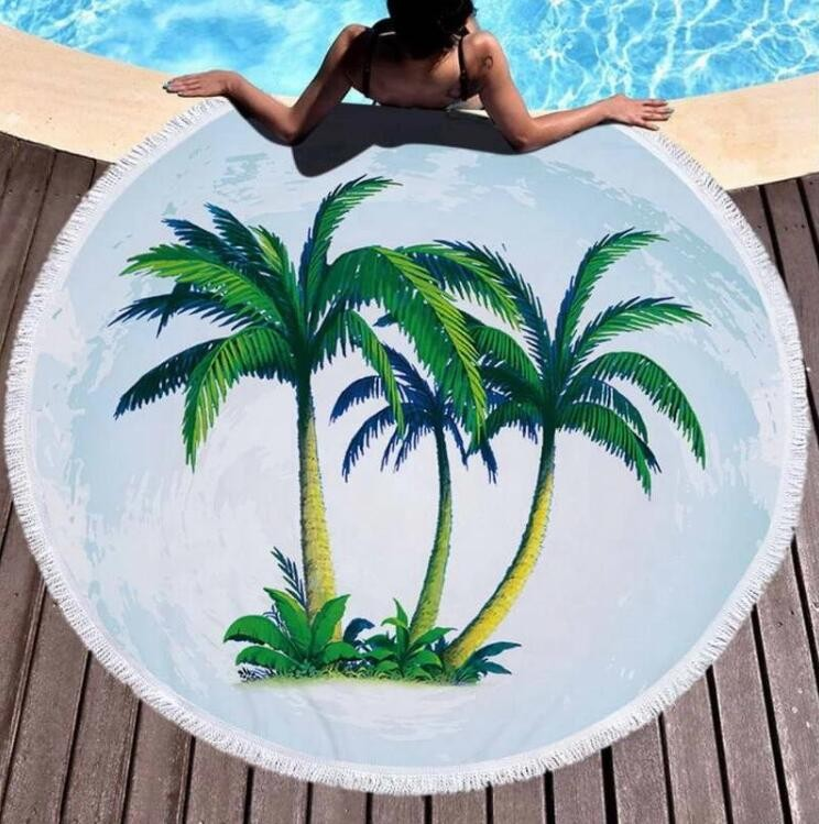 Circular Beach towel with colorful fringes