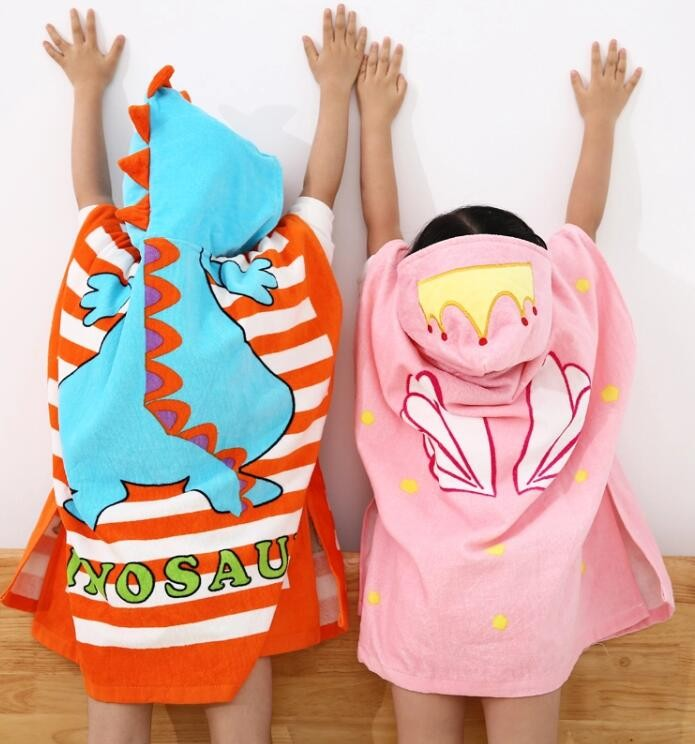 Custom Pattern 100% Cotton Kids Hooded Poncho Towel 60*120cm