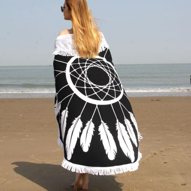 Feather designs circular beach towels with tassels fringe