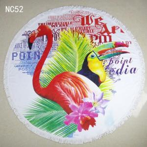 Flamingo round beach towel with colorful fringe