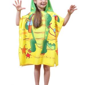 High quality custom design cartoon printed kids cotton  hooded poncho towel