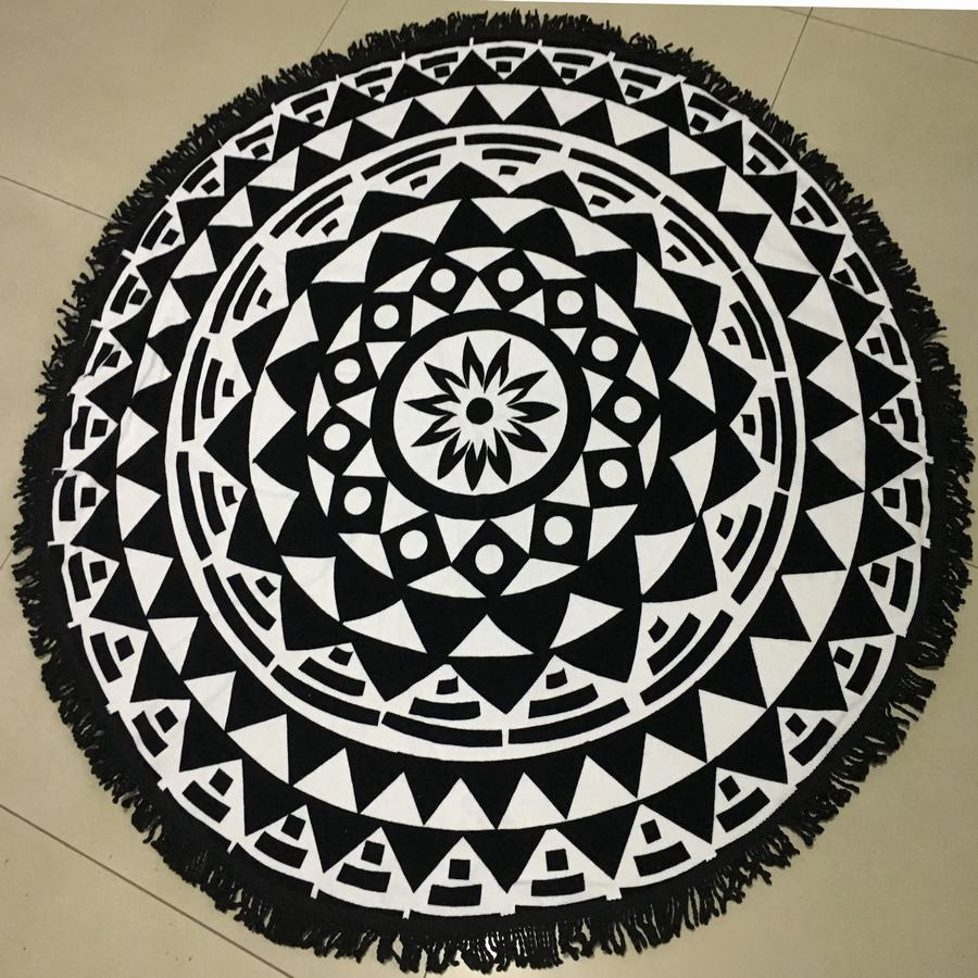 Innovative Cotton printed round beach towels with tassel