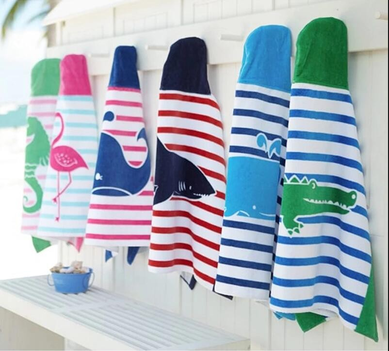 Printed cartoon hooded ponchos Bath Beach Towel for kids Children