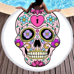 Skull desgin Round Beach Towel with tassels