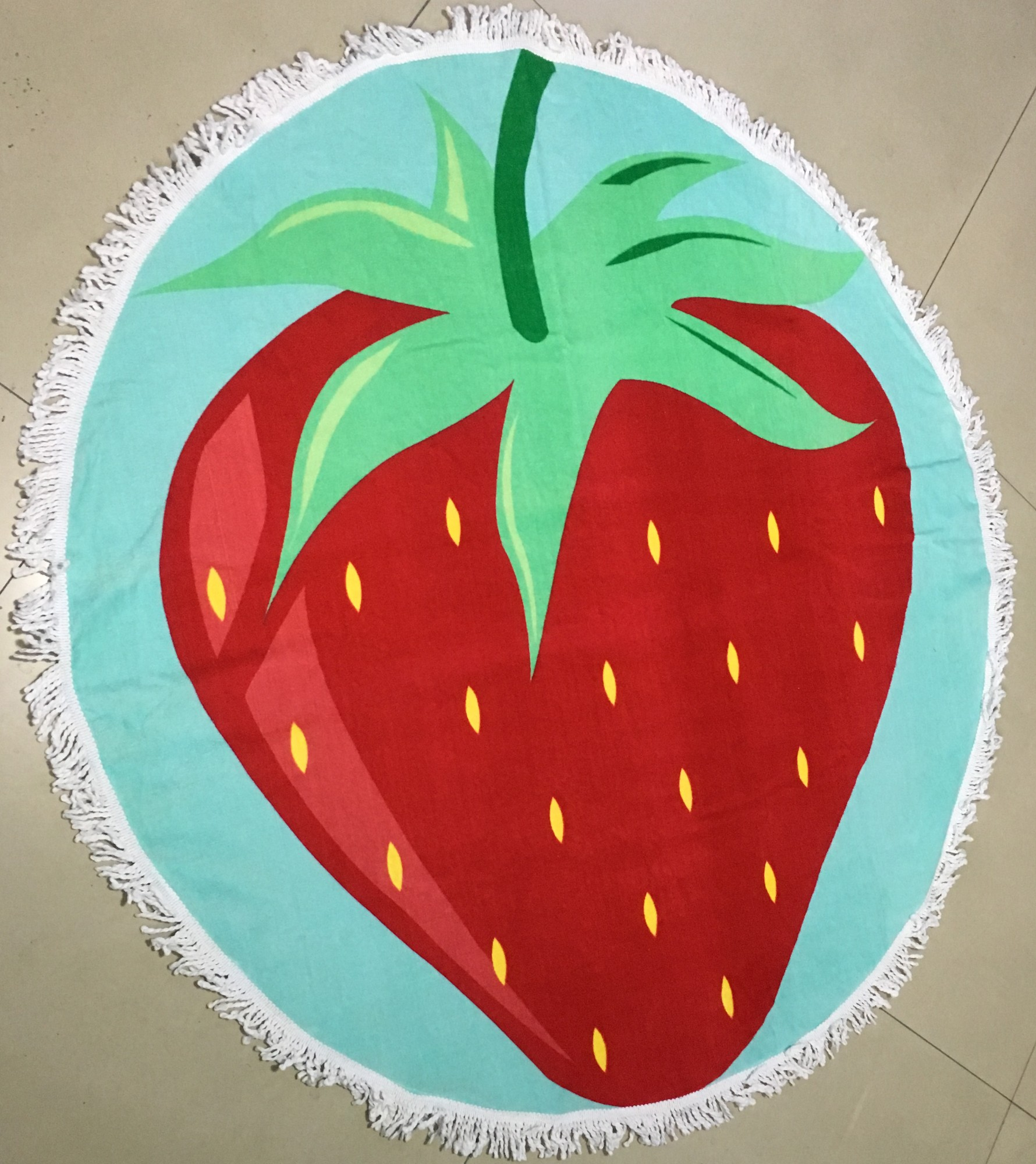 Straw berry  printed sand free round beach towels