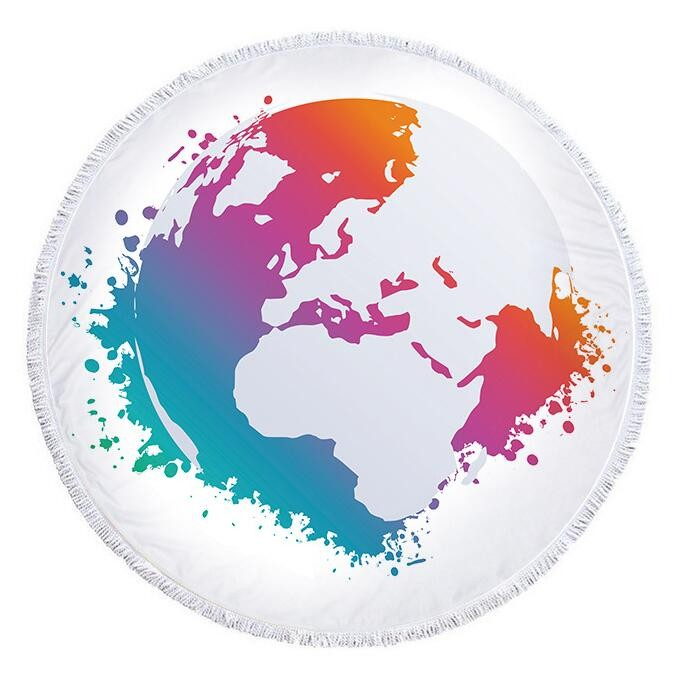 World map design circular beach towels