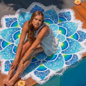 innovative Cotton printed lotus shape beach towels with tassels fringe