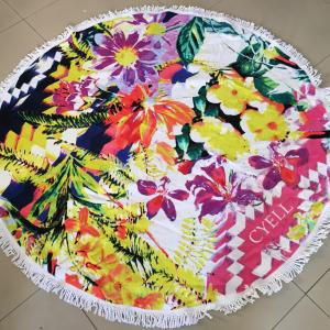 100% cotton terry/ velour reactive printed Round Beach Towel with tassels