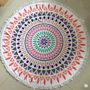 100% cotton velour reactive printed round beach towel with tassels