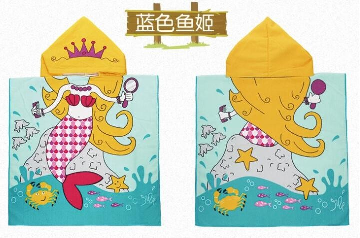 high quality 100% cotton Soft Kids hooded Poncho Custom design Baby Hooded Towel